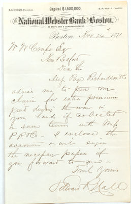 1871 Correspondence with Hall