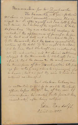 Memorandum from Edmund Randolph to Mr Throckmorton, 14 April 1805