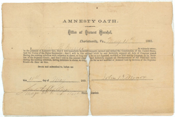 Amnesty Oath Sworn by Minor, 18 May 1865